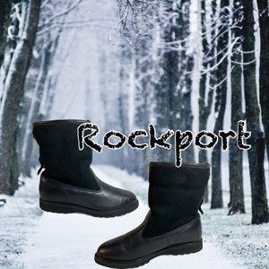 women's leather/suede faux fur trim foldable boot
